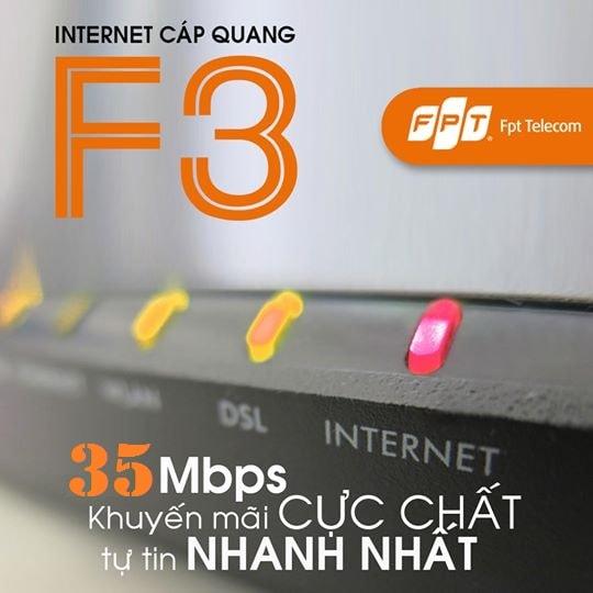 Khuyến mãi lắp đặt gói cước cáp quang FPT Fiber F3