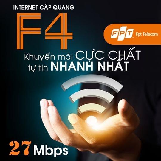 Khuyến mãi lắp đặt gói cước cáp quang FPT Fiber F4