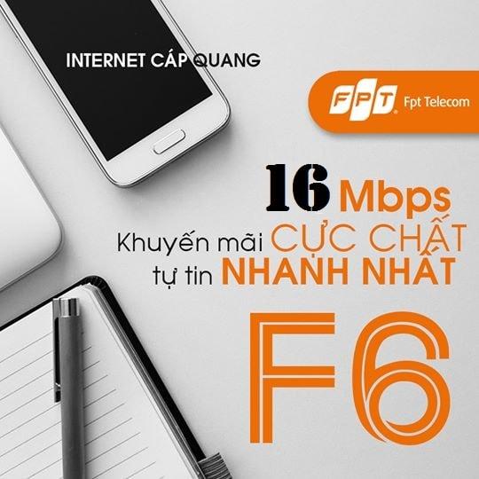 FPT Fiber F6 với băng thông kết nối lên đến 16 Mbps