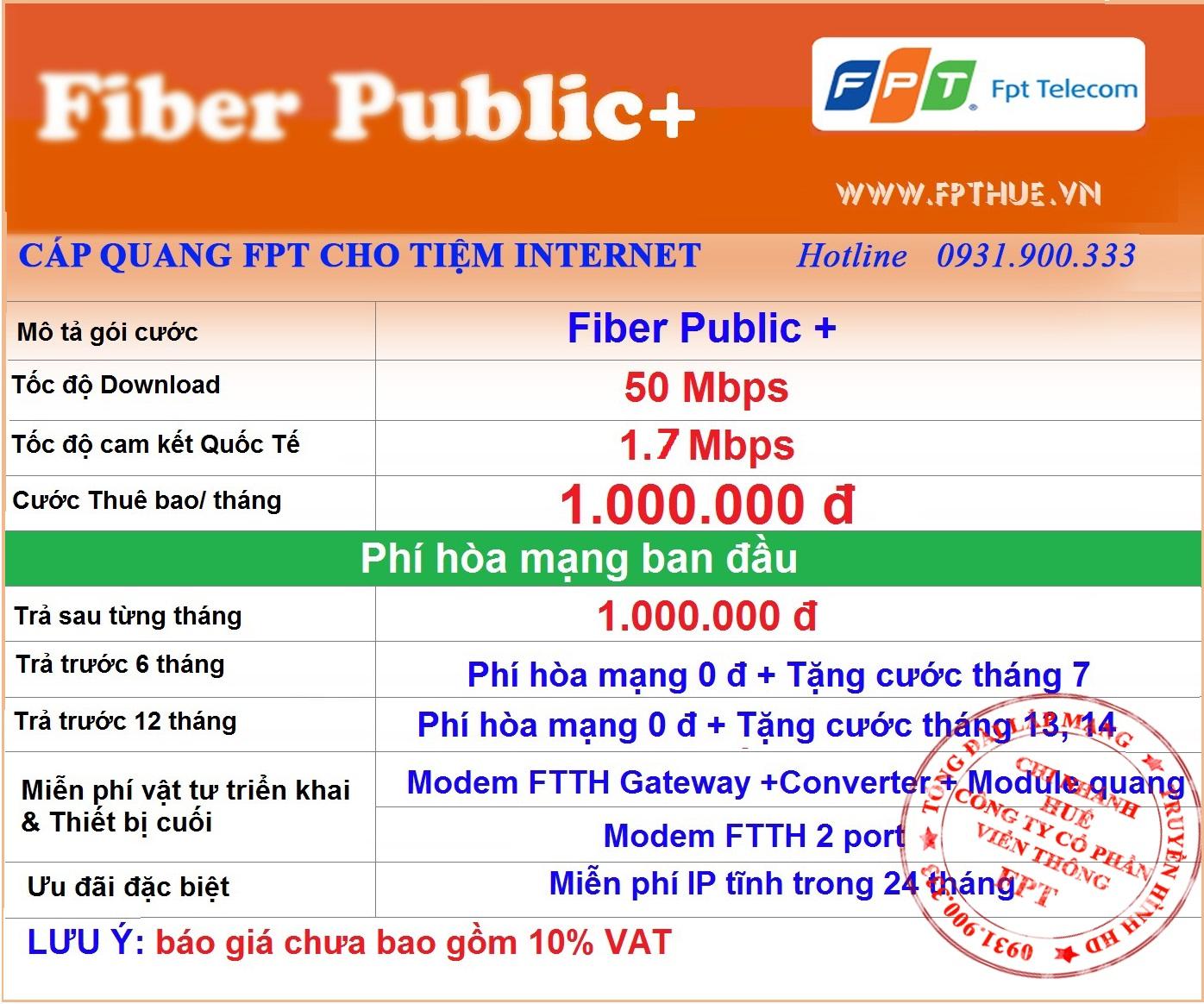 Cáp quang FPT cho tiệm internet