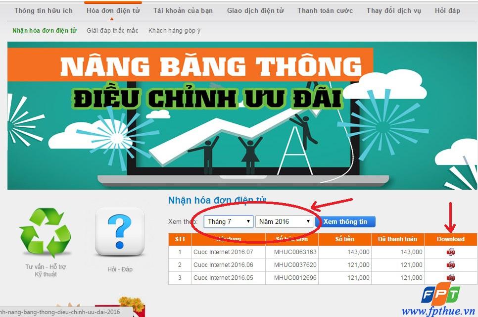Hướng dẫn kiểm tra và download hóa đơn điện tử của FPT Telecom