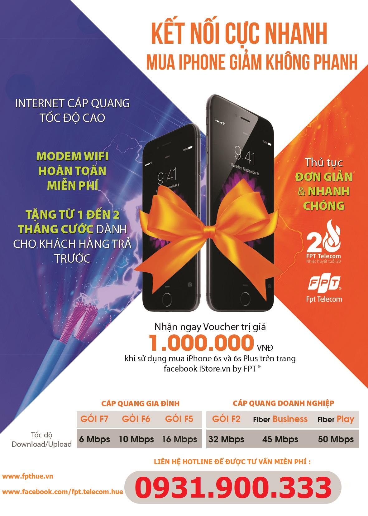 Lắp mạng FPT - Tặng Voucher giảm 1.000.000đ khi mua Iphone