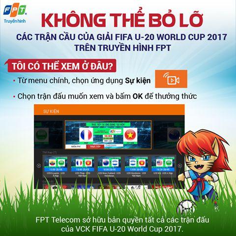 Hướng dẫn xem FiFa U-20 World Cup 2017 trên truyền hình FPT