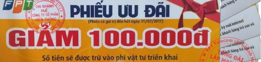 Tặng Voucher giảm 50-70% phí lắp đặt mạng Internet tại Huế